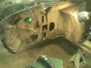 Cleand Weld Areas, Left Front Wheel Housing