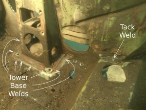Wishbone Tower Base Welds
