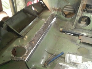 Drilling Out Front Cross Member Spot Welds